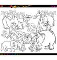 safari animals coloring book vector image