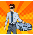 Successful Businessman Man Holding a Car Key vector image
