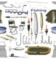 Fishing hand drawn pattern vector image