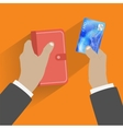 Hand giving credit card vector image