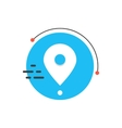 white simple pin icon on blue circle vector image