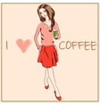 Young fashion woman in boho style for t-shirts vector image