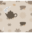 Tea seamless pattern of brown tint vector image