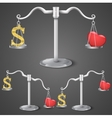 Balance between dollar and love vector image