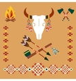 Ethnic ornament with bull skull and arrows vector image vector image