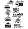 Black vintage barber shop logo and emblems vector image