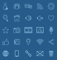 Chat line icons on blue background vector image
