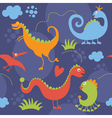 seamless pattern with cute dinosaur vector image