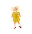 cartoon girl in dress reading book vector image