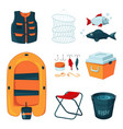 different tools for fishing icons set in vector image