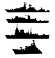 Four silhouettes of a military ship vector image