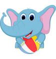 Happy elephant cartoon playing ball vector image