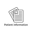 outline icon of patient card thin line signs of vector image