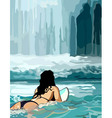 woman floating on a board in front of a waterfall vector image