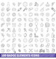 100 badge elements icons set outline style vector image