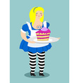 Alice in Wonderland Cake eat me Fat and old vector image