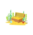 Open Chest With Golden Treasure Inside Laying At vector image