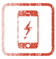 electric mobile phone framed textured icon vector image
