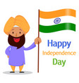 indian bearded man in a turban holding national vector image