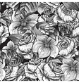 Seamless Monochrome Floral Pattern with Roses vector image