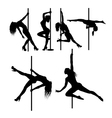Pole dancer sexy female silhouettes vector image