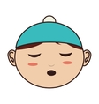 face baby hat closed eyes vector image