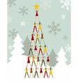 People Christmas tree vector image