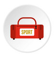 Red sports bag icon circle vector image