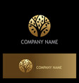 round tree nature gold logo vector image