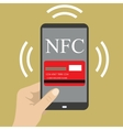 smart phone with credit card on the screen and NFC vector image