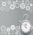 Background with gears and stopwatch vector image vector image