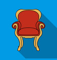 wing-back chair icon in flat style isolated on vector image