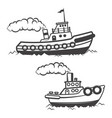 set of tugboat isolated on white background boat vector image