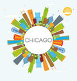 chicago skyline with color buildings and copy vector image