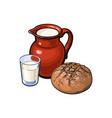 sketch glass of milk ceramic jug loaf bread vector image