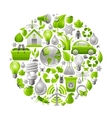 Ecological set with green concept icons in circle vector image