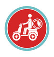 circular emblem with delivery man in scooter and vector image