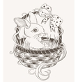 Easter bunny in a wicker basket vector image