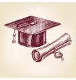 graduation cap and diploma hand drawn vector image