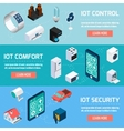 Iot household isometric banners set vector image