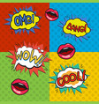 pop art logos set vector image