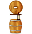 Wine bottle on wooden barrel vector image