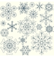 Stylized snowflakes collection vector image vector image