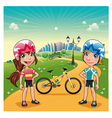 Park with young bikers vector image