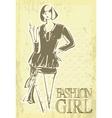 vintage fashion girl vector image vector image