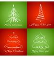 Cards with christmas trees vector image