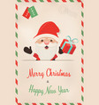 christmas and new year retro santa claus postcard vector image