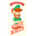 Hipster funny bearded man Greeting card for vector image