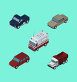 isometric car set of first-aid auto car and vector image