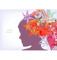 Romantic flower with girl background vector image